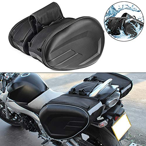 Alforjas para Motocicleta, Bolsa de sillín para motocicleta Resistente al agua Impermeable PU Tela de Oxford Caja de fibra de carbono Asiento de motocicleta exterior Bolsa de sillín