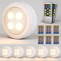 6-Pack Brillanfire Wireless LED Puck Lights with Remote Control