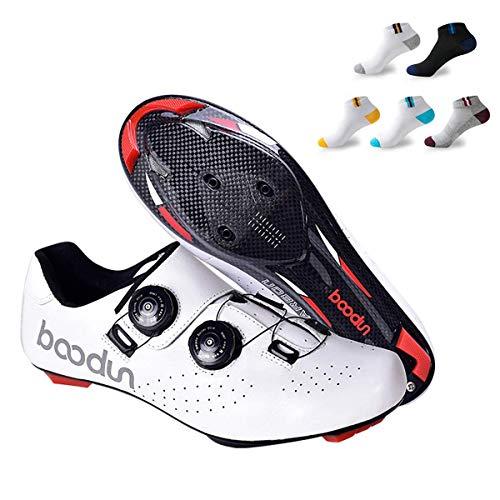 CNRRT Zapatos de Bicicleta de Carretera, de Peso Ligero de Fibra de Carbono de Calzado de Bicicleta, al Aire Libre Respirable del Zapato Unisex Bicicleta, Zapatos, cerraduras de Bicicleta de montaña