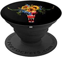 American Flag Cow Skull Bull Skull Sunflowers on Black - PopSockets Grip and Stand for Phones and Tablets