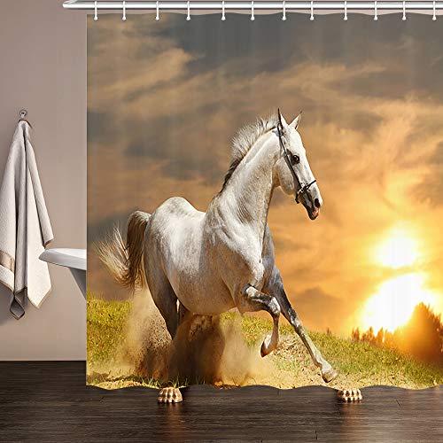Weißes Pferde-Duschvorhang, Tierhengst, läuft im ländlichen Raum & Sonnenuntergang, wasserfest, Premium Stoff für Badezimmer, Duschvorhänge, Dekor mit Haken, 177,9 x 177,8 cm