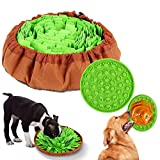 FiGoal 2IN1 Dog Pet Snuffle Mat with Dog Lick Pad for Dogs Interactive Puzzle Dispenser Toys Slow Feeding Mat Dogs Bowl Travel Use, Indoor Outdoor Stress Relief