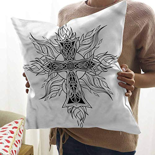 HouseLook Celtic Office Pillow Case Gothic Flames Cross Throw Pillow Cover for Car Sofa Bed Couch (12'x12')