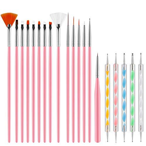 Pinceles para Uñas Acrilicas Profesional Nail Art Cepillo Manicura de Pinceles para Diseño de Uñas 15 pz Rosa Pinceles 5 pz Pluma Taladro