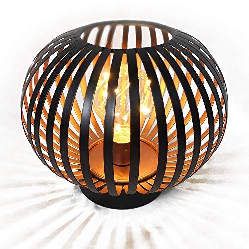 HAB & GUT LED Deko Windlicht Kupfer L236- Kugel Lampe Metall Tischlampe gestreift