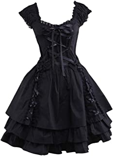 Womens Classic Black Layered Lace-up Cotton Lolita Dress