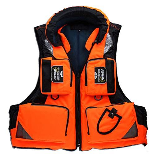 Chaleco Salvavidas, Chaleco Salvavidas Para Kayak Chaleco Salvavidas Seguridad Ajustable Con Múltiples Bolsillos Chaleco Auxiliar Flotante Adecuado Para Snorkel Paseos En Bote Y Pesca,Naranja,XXXL