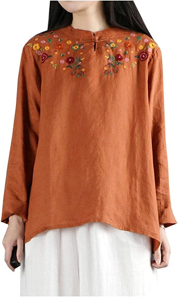 SCOFEEL Women's Cotton Linen Blouse Shirts Long Sleeve Embroidery Top T-Shirt with Chinese Buttons Plus Size
