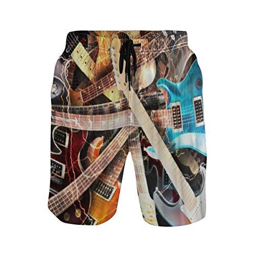 LISNIANY Bañador Hombre,Música Guitarra eléctrica Colorida Azul Naranja Rojo Bajo Instrumento Musical,Natación...
