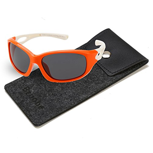 Price comparison product image Brooben Kids Sports Style Polarized Sunglasses Rubber Flexible Frame For Boys And Girls S8186(Orange / White)