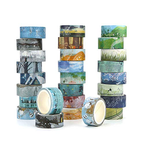Washi Masking Tape Set of 24,Decorative Masking Tape Collection,Four Seasons Patterns for DIY Crafts,Gift Wrapping,Scrapbooking & Party Supplies (Mix)