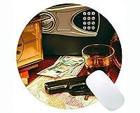 ゲーミングラウンドマウスパッド、銃弾薬のセーフティボックスステッチエッジ付きラウンドマウスパッド