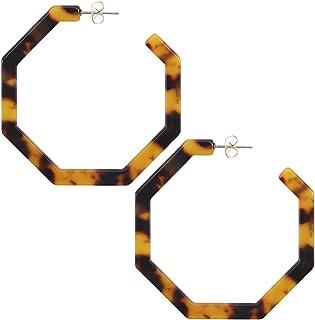 WOWSHOW Fashion Geometric Octagon Hexagon Hoop Earrings for Women Girls