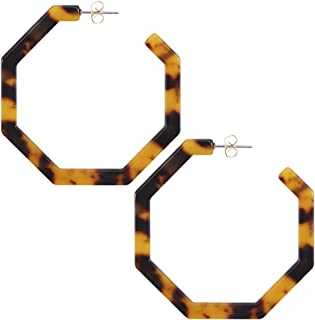 Acrylic Resin Hoop Earrings for Women Statement Fashion Geometric Octagon Earrings