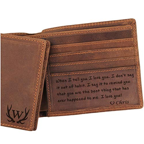 3 Choices, Custom Mens Leather Wallet, Engraved Wallet for Men,...