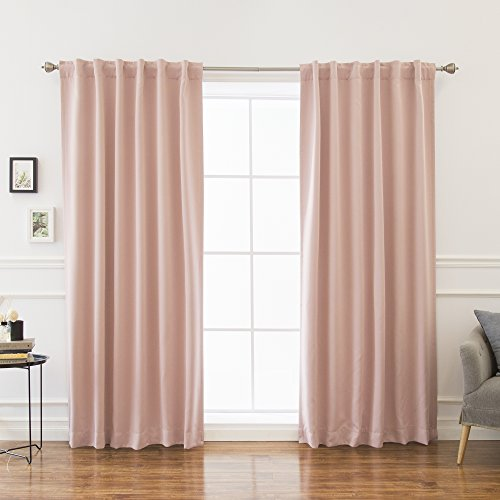 "Best Home Fashion Premium Blackout Curtain Panels - Solid Thermal Insulated Window Treatment Blackout for Bedroom - Back Tab & Rod Pocket – Dustypink - 52"" W x 84"" L - (Set of 2 Panels)"