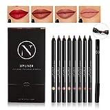 8Pcs Matte Lip Liner Set With Sharpener, 7 Assorted Colors Lip Liner Pencils & 1Pcs Concealer Pen, Waterproof Non-marking Long Lasting Velvet Lipstick Pen
