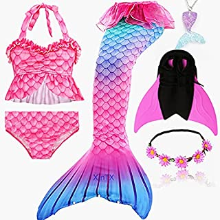 6PCS/Set Rainbow Style Mermaid Tail Swimsuit With Fin For Kids Girls Holiday Dress Costume Bathing Swimuit (Color : Sky Bl...