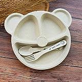 3 unids/Set Baby Bowl + Cuchara + Tenedor Alimentación Alimentación Vajilla Cartoaje Oso Dibujos Animados Niños Platos Comiendo Tenedor Tenedor Anti-Caliente Cena Plato (Color : Beige Set)