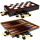 PrimoLiving Deluxe Holz Backgammon Set Porto im Format 25,5x26,4 cm (S)