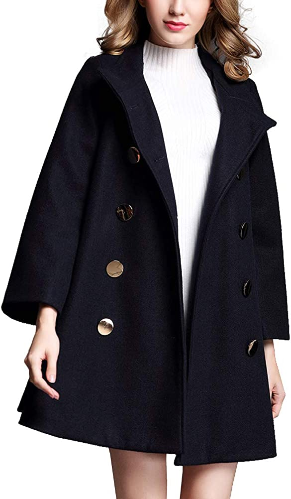 Gihuo Women's Wool Blend High Collar Double Breasted Swing Pea Coat