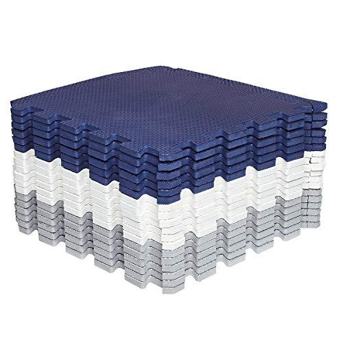 Amazon Brand - Umi 1' x 1'(30cm x 30cm Alfombras Entrelazadas | Alfombras de Rompecabezas | Alfombras de Espuma Suave Alfombras de Juego | Alfombras de Gimnasio (Azul Blanco Gris 18 Piezas)