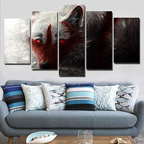 XIAOJIJI wandkunst schilderijen wandschilderij zonder lijstjes sproeischilderij olieverfschilderij vijf canvas schilderij wolf abstract wandschilderij Home Decoration Canvas schilderwerk 20*35cm*2 20*45cm*2 20*55cm*1(cm) Frameloos