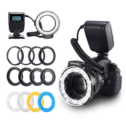 Ring Flash, Emiral 48 Macro LED Flash Light with LCD Display Power Control, Adapter Rings and Flash Diffuser for Canon, Nikon DSLR Cameras