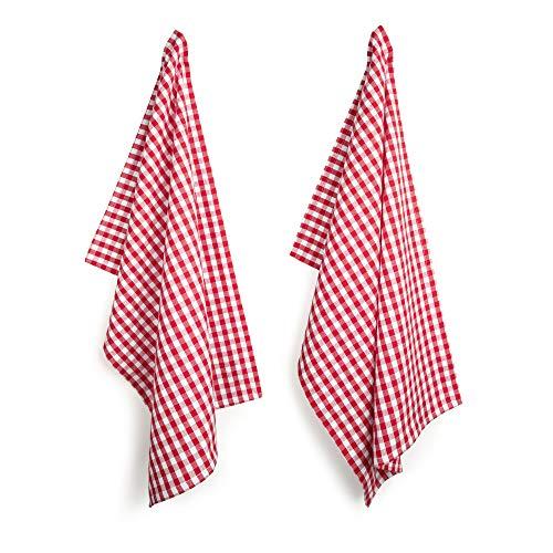 FILU Geschirrhandtücher 4er Pack Rot/Weiß kariert (Farbe und Design wählbar) 45 x 70 cm - hochwertige Küchenhandtücher/Geschirrtücher aus 100% Baumwolle