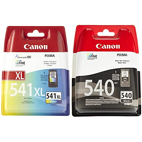 Canon CL-541XL Cartucho Tinta Original Tricolor XL para Impresora Inyeccion Tinta Pixma + PG-540 Cartucho de Tinta Original Negro para Impresora de Inyeccion de Tinta Pixma