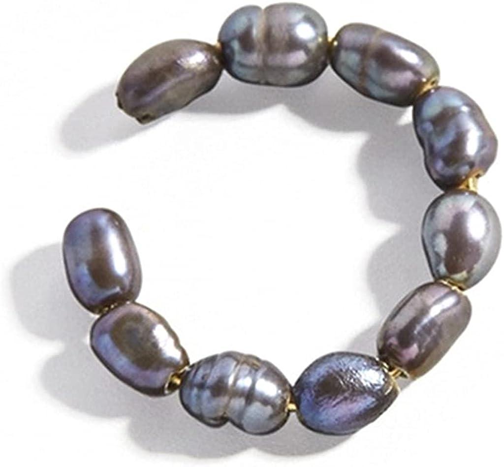 Xzbnwuviei 1 Piece Ear Cuff Non Pierced Earring for Women Pearl Ear Clip On Earring Set Cartilage Hoop Ear Cuff