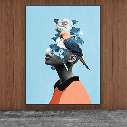 Artistieke vrouw hoofd aan de muur met bloemen en vogels mode abstracte aquarel canvas foto's op de muur afgedrukt voor huisdecoratie- frameloze 40x50cm