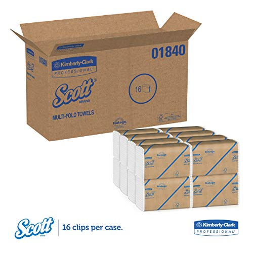 Scott Essential Multifold Paper Towels (01840) with Fast-Drying Absorbency Pockets, White, 16 Clips / Case, 250 Sheets / Clip, 4,000 Towels / Case