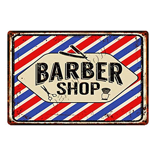 ivAZW Metal Poster Tin Sign Plaque Nostalgic-Art Shaves And Haircuts Barber Shop Vintage Men'S Hairstyle Tattoos Plaques Classic Bar Decoration 20X30Cm 24