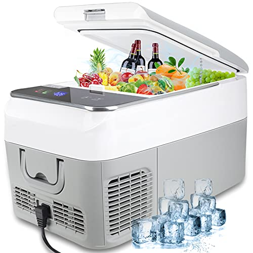 Car Refrigerator - AUTOOMMO 27 Quart/28 Can Portable Car Fridge for Vehicle, RV, Truck, Car Cooler Freezer with Adapter for Home, Outdoor, Travel, Camping, -4℉ to 50℉, DC 12/24V, AC 100-240V