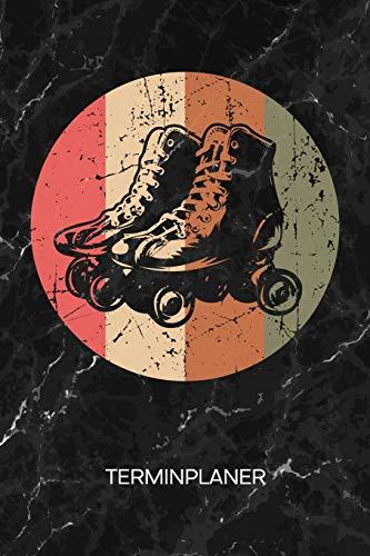 TERMINPLANER: Rollschuhfahrer Kalender 70er Jahre Terminkalender - Retro Roller Skates Wochenplaner Vintage Rollschuhe Wochenplanung Vintage Taschenkalender Oldschool To-Do Liste Termine