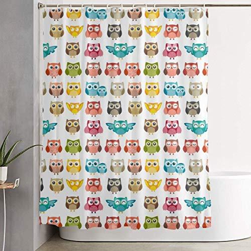 N/A voor decoratieve badkamer gordijn schattige uil grappige uil patroon douchegordijn met haken waterdichte bad gordijn 72''W X 72''H