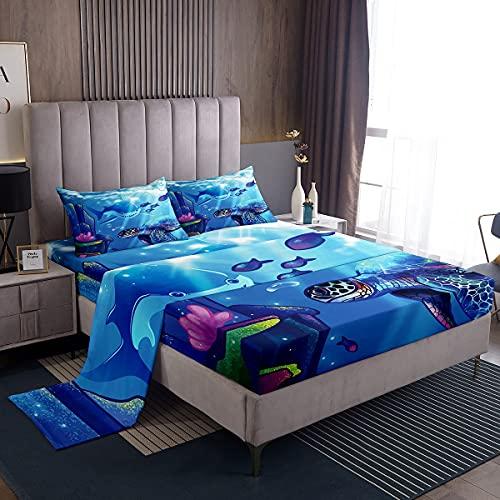 Juego de sábanas de tortuga marina, juego de cama de tiburón marino para niños y niñas, decoración de la habitación Sealife Animal Juego de sábanas de criatura subacuática 4 piezas tamaño king