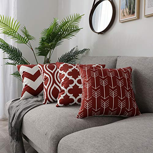 FanHomcy Set of 4 Geometric Throw Pillow Covers for Couch,Soft Solid Square Decorative Pillow Set Cushion Cases for Sofa Bed Room Car, 18' x 18', Red Quatrefoil Arrow Ogee Chevron Patterns
