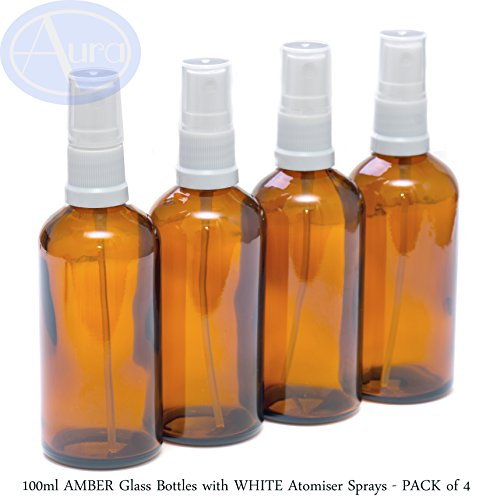 PACK of 4 - 100ml AMBER Glass Bottles with