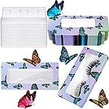 24 Set Empty False Eyelash Box with Eyelash Tray Kit Plastic Eyelash Packaging Box Butterfly Prints Lash Case Holder for Women Girls (Deep Purple Butterfly)