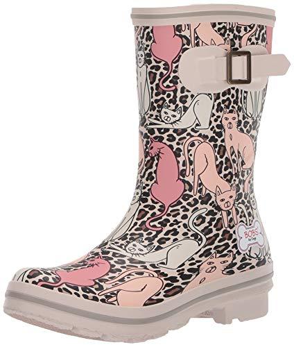 Skechers BOBS Women's Rain Check-Tiger Cats Boot, Blush, 8 M US