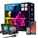 Kutuspon Smart LED Flood Lights 20W RGB Outdoor Color Changing Lights, APP Control, IP66 Waterproof, Timing, 2700K-6500K, Perfect for Garden Landscape Stage Lighting [2Packs]