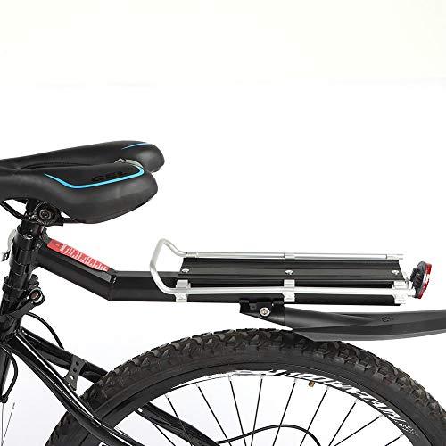 SOULONG Portaequipajes para bicicleta, bicicleta trasera Rack de aluminio, tija de sillín Rack Mountain Bike MTB portaequipajes con reflector, capacidad de 10 kg, negro