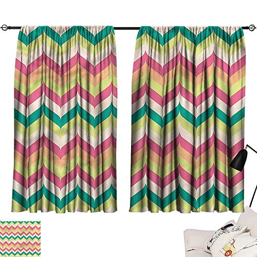 Ediyuneth Double Curtain Rod Chevron,Curved Symmetrical Lines 84'x84',Curtains for Living Room