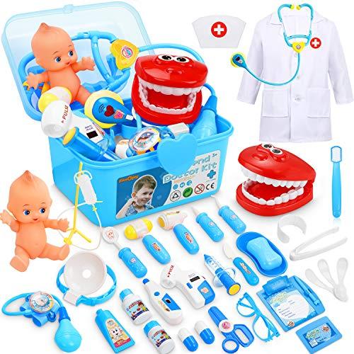 Fivejoy 43 Piezas Juguete del Doctor para Niños, Doctora de Juguetes, Maletín Medico Juguete Doctora Cosplay Juguetes, Juego de rol Regalos para Niños Mayores de 3 años con Accesorios, Asa (Azul) ✅