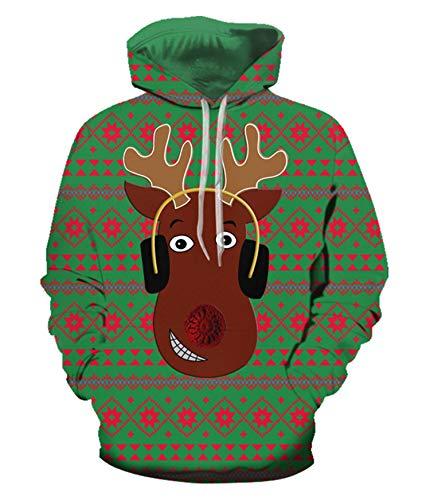 JIER 3D Digital Weihnachts Hoodie Unisex Druck Drawstring Taschen Weihnachtspullover langärmliges mit Kapuze Sweatshirt Weihnachten Kapuzenpullover (Armeegrün,XX-Large)