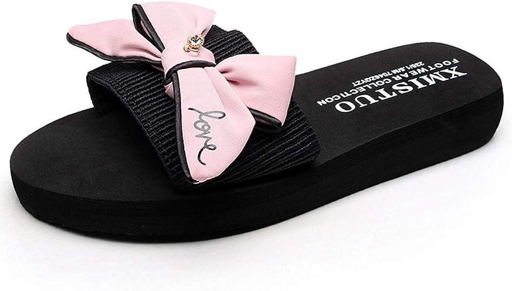 ChyJoey Women's Flat Low Heels Slide Sandals Slip On Platform Slipper Open Toe Cute Bowknot Beach Sandal