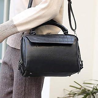 YKDY Shoulder Bag Casual PU Leather Shoulder Bag Ladies Handbag Messenger Bag (Black) (Color : Black)