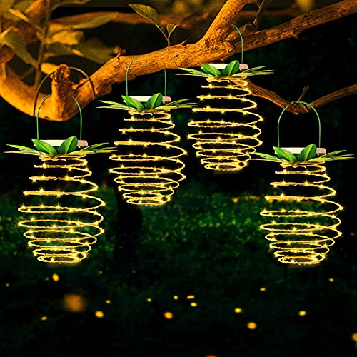 MZD8391 4 Pack Solar Lanterns, Hanging Solar Lights Outdoor Decorative for Patio Garden Pathway Porch Deck Yard Decor